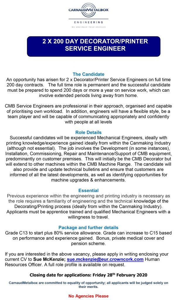 2 x 200 Day Decorator Service Engineer - Feb 2020